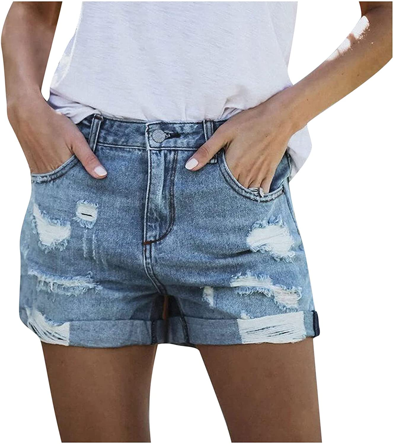 Denim Hot Shorts for Women Casual Summer Cut Off Frayed Distressed Jean Short Mid Rise Ripped Denim Shorts