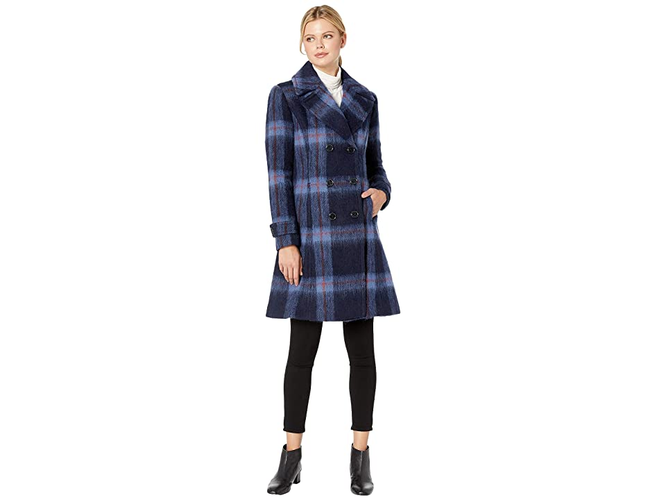 Kenneth Cole New York Skirted Brushed Plaid Wool (Navy Plaid) Women