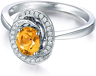 Promise Rings for Her 925 Sterling Silver Ring Oval Ring Engagement Women Ring Wedding with Citrine