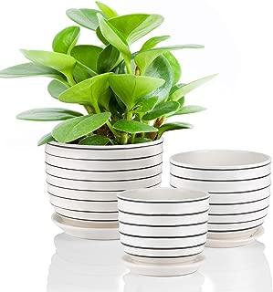 Ceramic Plant Pots Indoor Planters Flower Pots Garden Plants Pots with Saucers,Set of 3