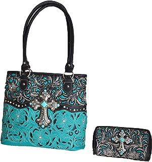 Women's Western Pattern Laser Cut Floral Top Handle Shoulder Handbag with Matching Wallet set