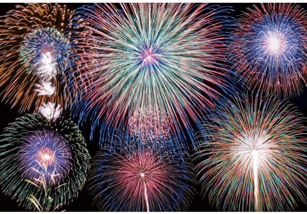 New Colorful Fireworks Backdrop Polyester Fabric 7x5ft New Year Display Photos Background Bokeh Backdrop Halos New Year Festival Celebration Fireworks Party New Year Eve Events Props