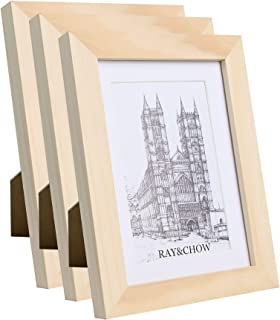 Ray & Chow 5x7 inch Natural Bare Picture Frame - Made to Display Pictures 4x6 with Mat or 5x7 Without Mat- Solid Wood- Glass Window- with Stand or Wall Hanging -3 Pack