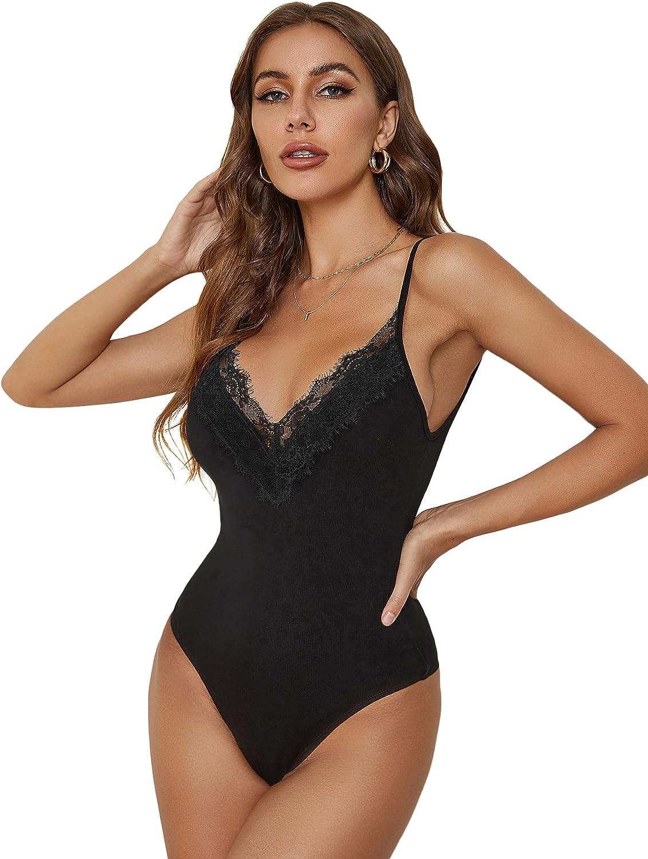 SheIn Women's Spaghetti Strap Sleeveless V Neck Lace Trim Cami Bodysuit Tops