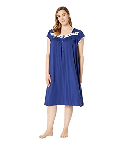 Eileen West Plus Size Modal Spandex Knit Cap Sleeve Waltz Nightgown (Solid Indigo) Women