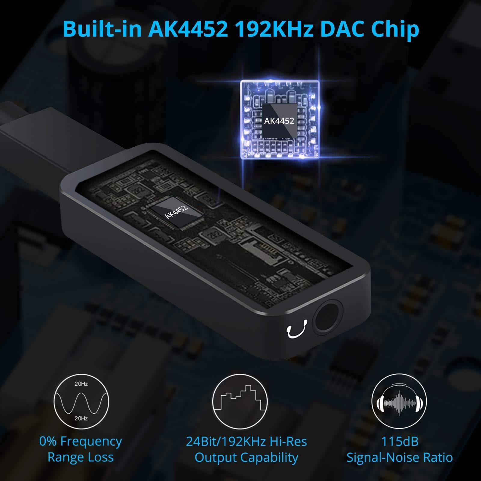 192kHz USB C a 3.5 mm DAC amplificador de auriculares USB C ...