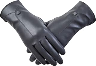 Touchscreen Leather Gloves Winter Warm Fashion Soft Cacual Black Gloves Womens Leather Gloves