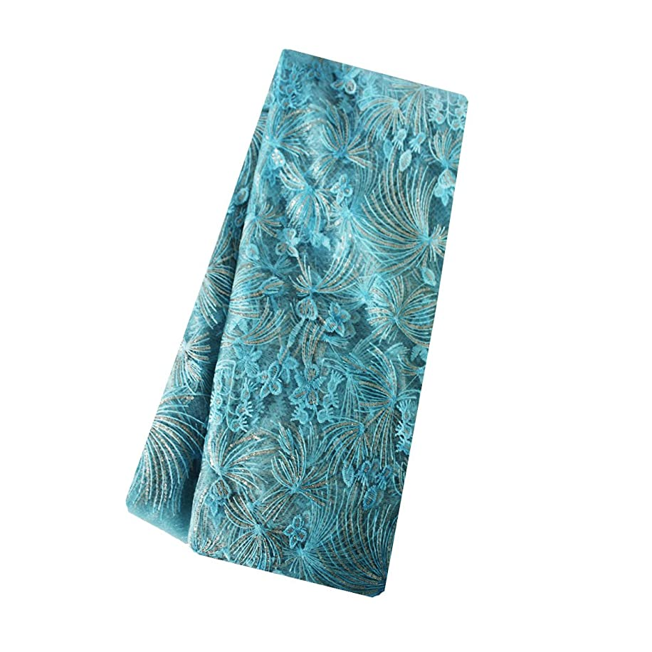 Fongbay African Lace Fabric Milk Shredded Embroidered Lace Fabrics Suitable for Party Wedding Dress Short Skirt or Handmade DIY (Blue 1.8 Yards)