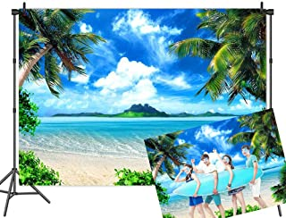 Qian 7x5ft Vinyl Beach Themed Photography Backdrops Ocean Tropical Coconut Palm Tree Blue Sky Sea Sand Photo Studio Props Wedding Party Decoration Background