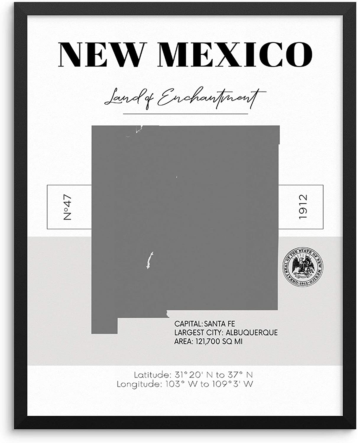 Amazon.com New Mexico State Map Poster With Demographics ...
