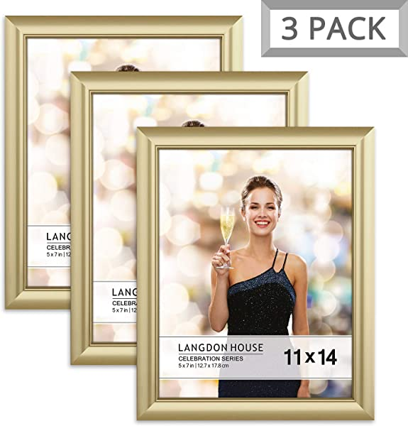 Langdon House 11x14 Picture Frame 3 Pack Gold Gold Photo Frame 11 X 14 Wall Mount Or Table Top Set Of 3 Celebration Collection