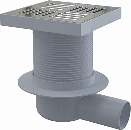 Siphon de sol inox Solusec 150x150 mm sortie verticale Ø50