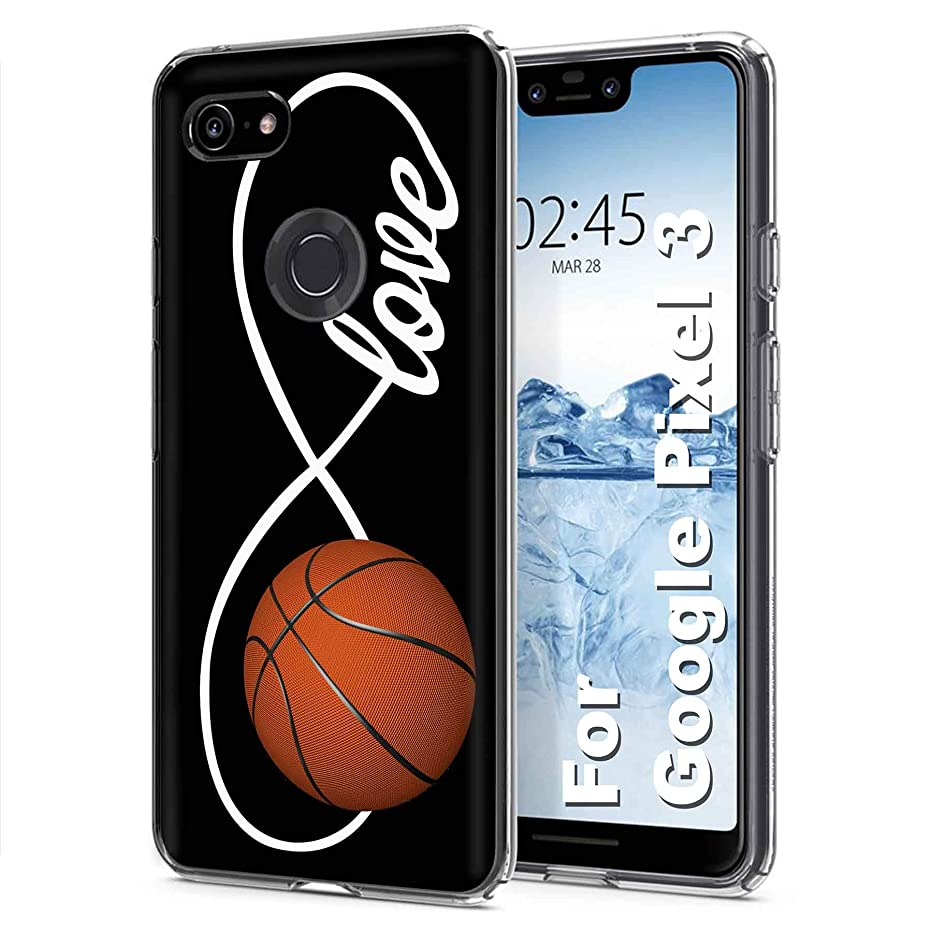 [PlusBrite] Google [Pixel 3] [Clear] Flex Defender Soft Slim Phone Cover Case Feature Ultra-Thin, Soft to Touch TPU Case for Pixel3,Pixel 3 [Love Basketball Print] Design in USA