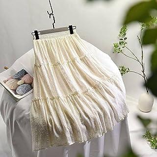 ZJMIYJ Kjolar för kvinnor – hög midja veckat lapptäcke smala kjolar 3D blommig midikjol med foder damer vår kvinnors elega...