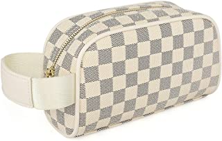 Miracle Premium Checkered Make Up Bag | Cosmetic Pouch | Travel Toiletry Bag for Men Women | PU Vegan Leather (Cream Checkered)