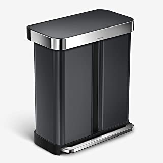 simplehuman 58 Liter / 15 Gallon Dual Compartment Recycling Step Rubbish Bin with Liner Pocket, Black Stainless Steel