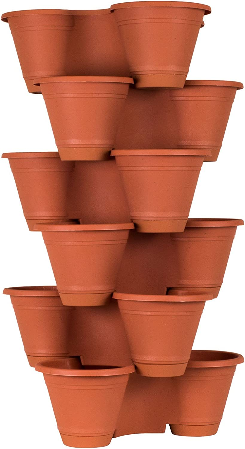 Vegetables Flowers+ 4 or 5 Tier Stacking Planter with 6 Pockets for Herbs 3