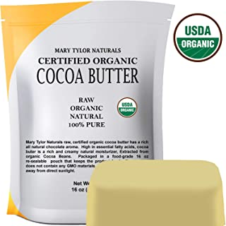 Organic Cocoa Butter (1 lb), USDA Certified by Mary Tylor Naturals Raw Unrefined, Non-Deodorized, Rich In Antioxidants Great For DIY Recipes, Lip Balms, Lotions, Creams, Stretch Marks