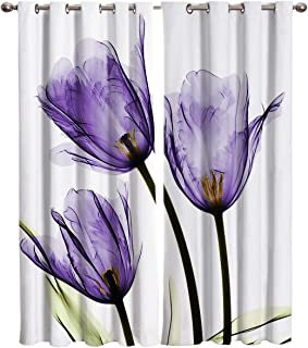 Advancey Blackout Curtains Panels for Living Room Purple Tulip Window Curtains Darkening Thermal Insulated Window Drapes 2 Panels Set 40