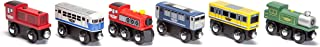 Maxim Wooden Train Cars (6-Pc. Set) Rolling Locomotive Engines with Magnetic Links for Pulling Cars and Cabooses | Bridge and Track Use | Compatible with Thomas, BRIO, Melissa and Doug