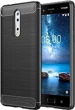 Nokia 8 Case, MoKo Flexible TPU Bumper Slim Fit Case Carbon Fiber Design Lightweight Shockproof Back Cover for Nokia 8 (2017) ONLY, BLACK