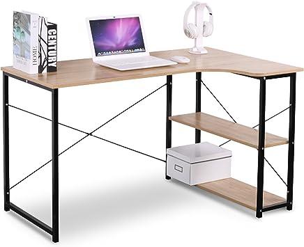 WOLTU TSB06hei Table d'ordinateur Table de Bureau Table de Travail en Bois et Acier,Environ 120x74x71,5 cm,12,8kg Nature Noir