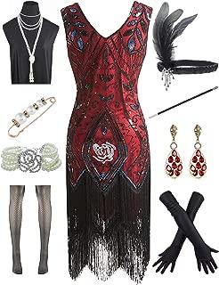 Women 1920s Plus V-Neck Sequin Art Deco Flapper Dress with 20s Gatsby Accessories Set