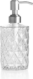 Easy-Tang 330ml ディスペンサー シャンプーボトル ポンプボトル ガラス製 おしゃれ ハンドソープ用 シャンプー用 シャワージェル用 トリートメント用 詰め替え容器 (透明)