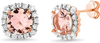 Rose Gold Plated Sterling Silver Cushion Shaped Simulated Morganite and Cubic Zirconia Stud Bridal Halo Earring for Women