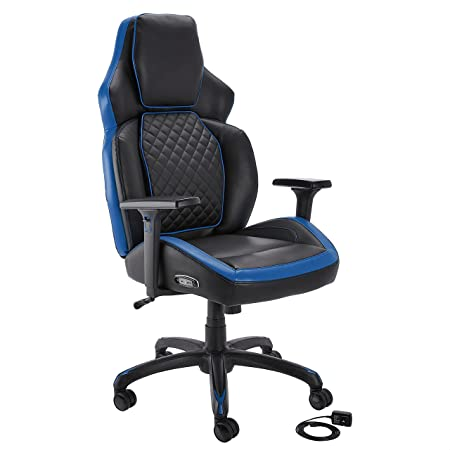 Amazon Basics Ergonomic Gaming Chair with Bluetooth Speakers and Built-in Mic, Push-Button Height Control - Blue