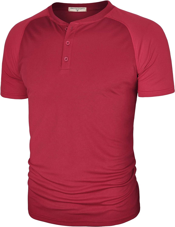 Derminpro Men's Regular Fit Casual Round Neck Basic Solid Short Sleeve Henley Tee Wine X-Large