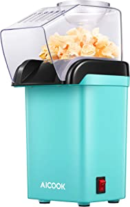 AICOOK Hot Air Popcorn Maker, AICOOK 1200W Fast Home Popcorn Popper with Measuring Cup and Removable Top Cover, Easy To Clean & Healthy Oil-Free, Perfect for Movie nights, BPA-Free&ETL Certified (GREEN)