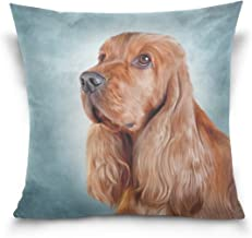 Mydaily English Cocker Spaniel Dog Square Throw Pillow Case Cotton Velvet Cushion Cover 16x16 inch