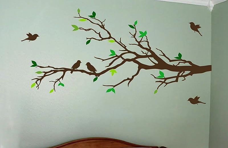 Digiflare Graphics MATTE FINISH Tree Branch With 10 Birds Wall Decals Sticker Nursery Decor Art Mural