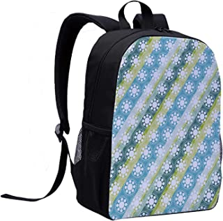 Abstract College Backpack,Circle Forms Featured Flower Motif on Parallel Striped Color Background Design for Picnic,12″L x 5″W x 17″H