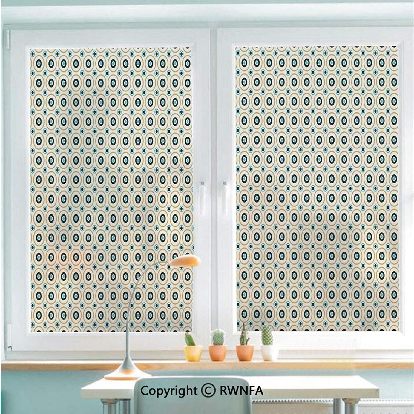 RWNFA Window Film No Glue Glass Sticker Circles and Dots Spots in Different Sizes Symmetrical Pop Art Inspired Static Cling Privacy Decor for Kitchen Bathroom 22.8x35.4inches,Sky Blue Black Amber vkv0726807