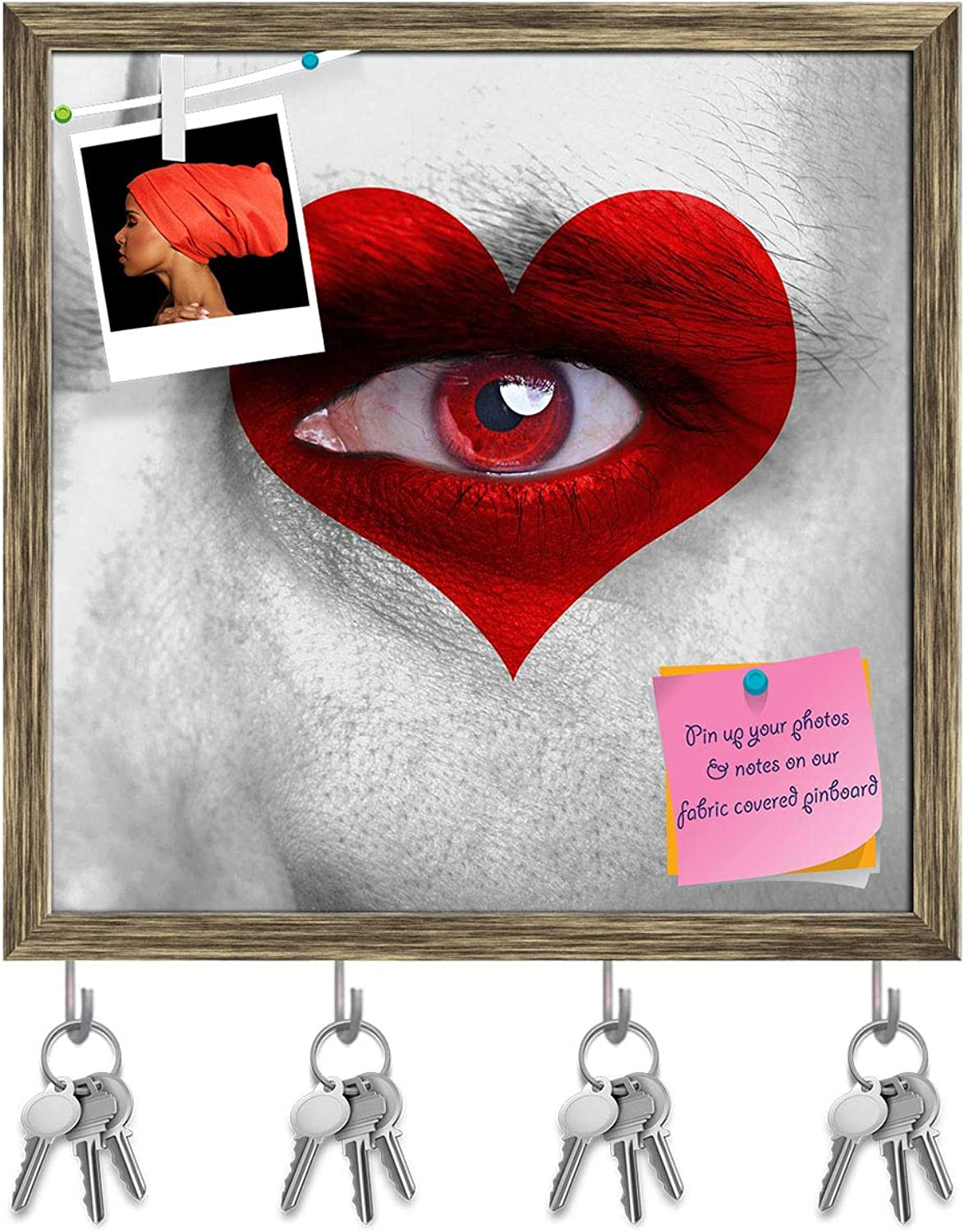 Artzfolio Human Face with Red Heart On Eye Key Holder Hooks   Notice Pin Board   Antique golden Frame 20 X 20Inch