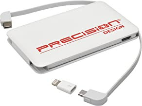 Precision Design 5000mAh Power Bank Portable Charger with Lightning/USB Type-C/Micro USB Connectors