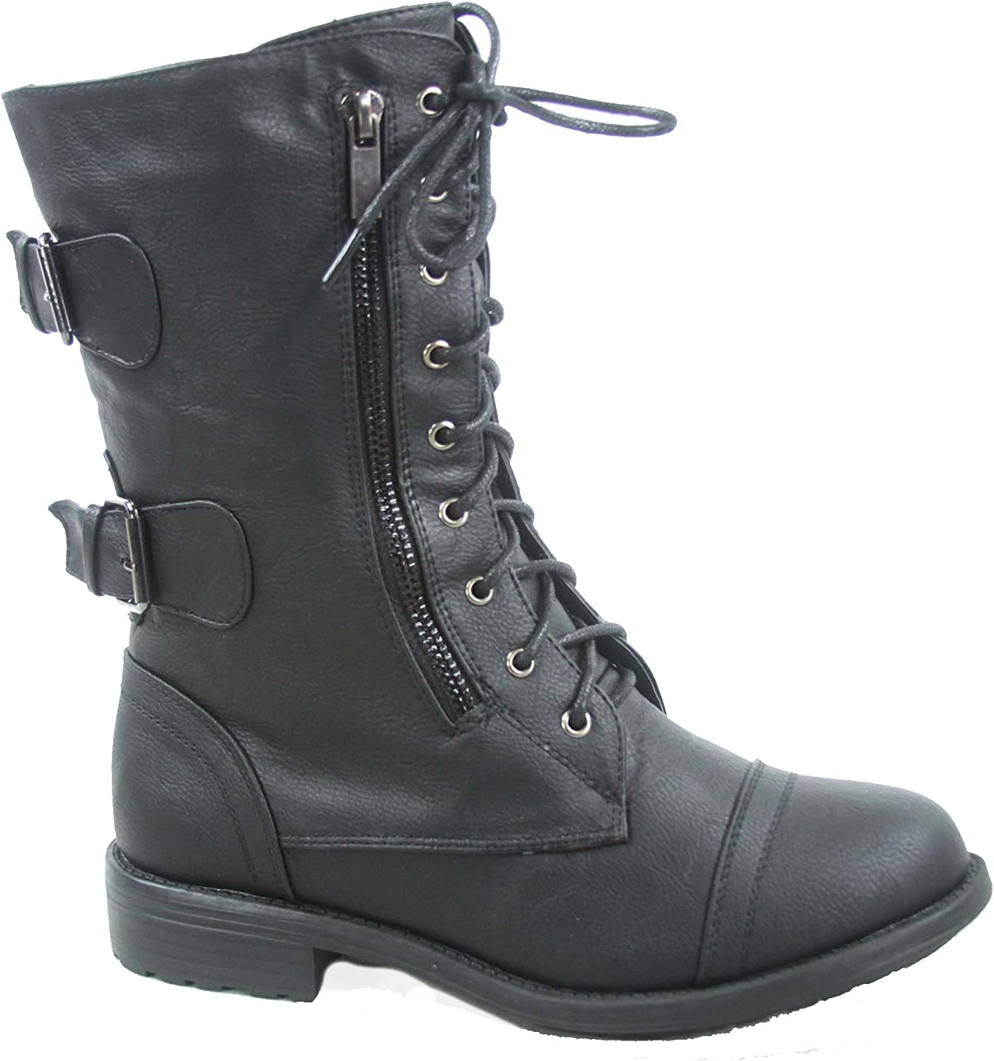 Top Moda Pack-72 Women's Fashion Mid Calf Low Heel Combat Military Zipper Lace Up shoes