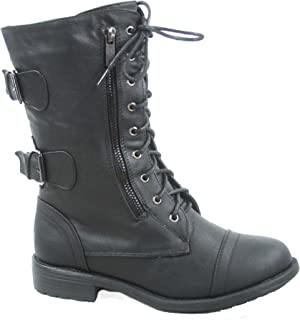 Pack-72 Women's Fashion Mid Calf Low Heel Combat Military Zipper Lace Up Shoes