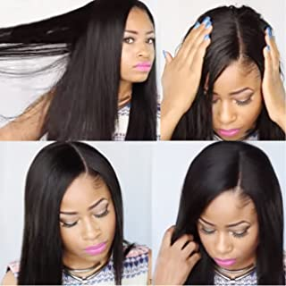 KUN Hair 360 Lace Wigs Human Hair Wigs Brazilian Virgin Hair Pre Plucked Natural Hairline with Baby Hair Yaki Straight 360 Lace Wigs 150% Density (14 inch, Natural Color)