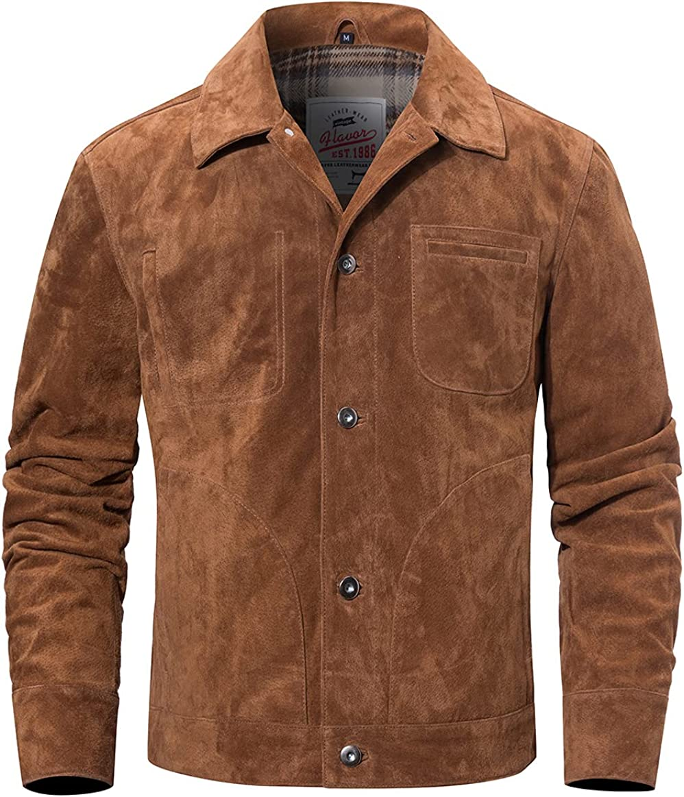 FLAVOR Direct store Men's Suede Leather Coat Year-end gift Jacket Trucker