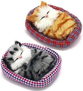 Coolayoung 2Pcs Sleeping Cat in Pet Pad Doll Toy, Mini Kitten in Pet Pad with Meows Sounds Decor for Office Desk Hand Toy ...