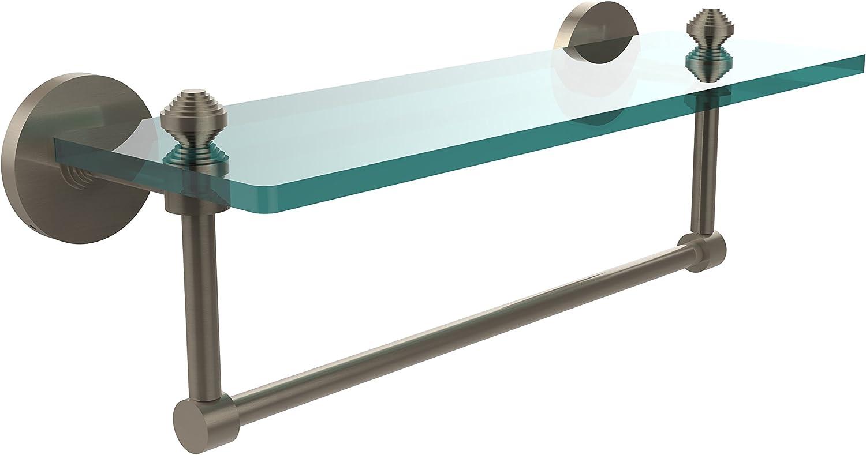 Allied Brass SB-1TB 16-PEW Glass Shelf with Towel Bar, 16-Inch x 5-Inch