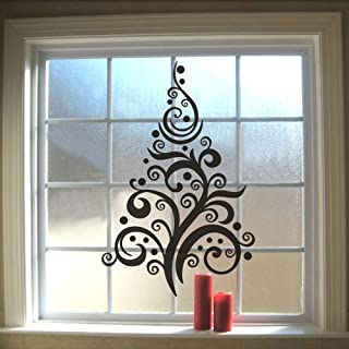 FlyWallD Merry Christmas Wall Decal Christmas Window Sticker Home Decor Saying Happy New Year Home Decor Vinyl Abstract Tree