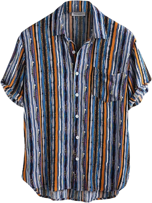 HWQ Men's Stripe Tie-Dye Printed Shirts Short Sleeve Button Down Slim Fit T-Shirt