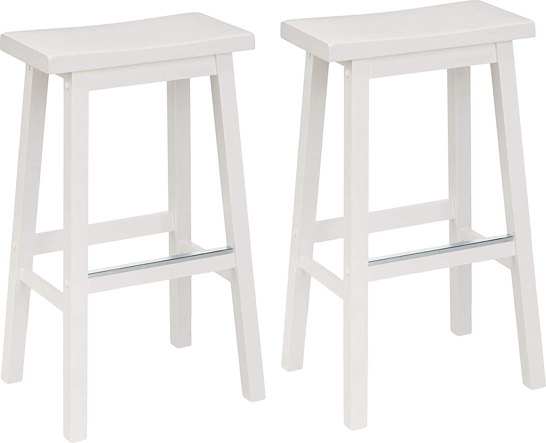 Amazon.com Amazon Basics Solid Wood Saddle Seat Kitchen Counter ...