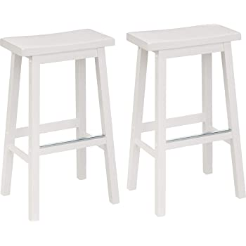Amazon Basics Classic Solid Wood Saddle-Seat Kitchen Counter Stool with Foot Plate 29 Inch, White, Set of 2