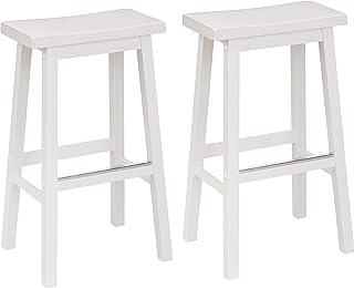 Amazon Basics Solid Wood Saddle-Seat Kitchen Counter Barstool - Set of 2, 29-Inch Height, White