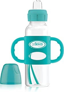 Dr. Brown's Options+ Sippy Spout Baby Bottle with 100% Silicone Handle, Turquoise, 8 Ounce